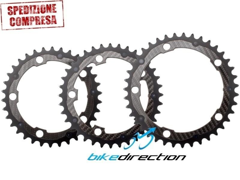 CARBON-TI-CARBO-RING-34-36-39-corona-carbonio-SRAM-SHIMANO-corsa-guarnitura-5bracci-bcd110-Bike-Direction