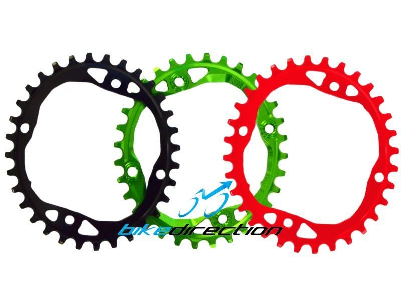 corona-ABSOLUTEBLACK-OVALE-bcd-104-4-fori-rossa-nera-verde-32-34-denti-Bike-Direction