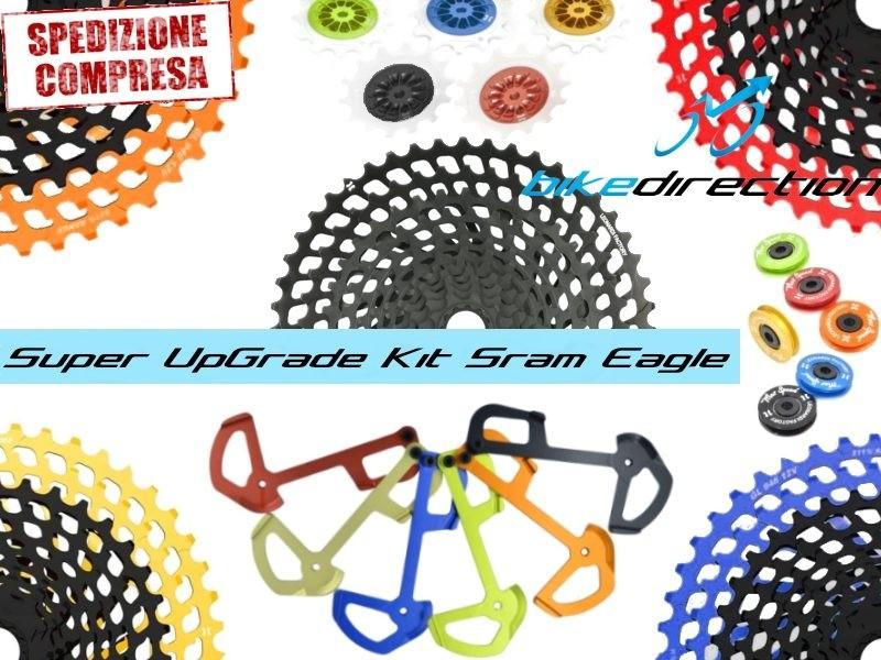 KIT-upgrade-SRAM-EAGLE-LEONARDI-FACTORY-colorato-cassetta-gabbia-pulegge-Bike-Direction