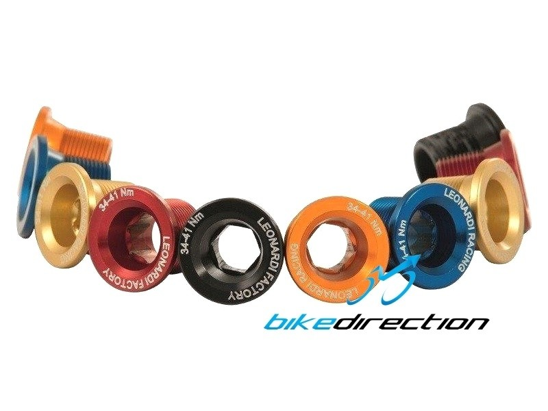 Leonardi-CAnnondale-hollowgram-BOLT-capo-rosse-nere-gold-colorate-dadi-pedivelle-guarnitura-Bike-Direction