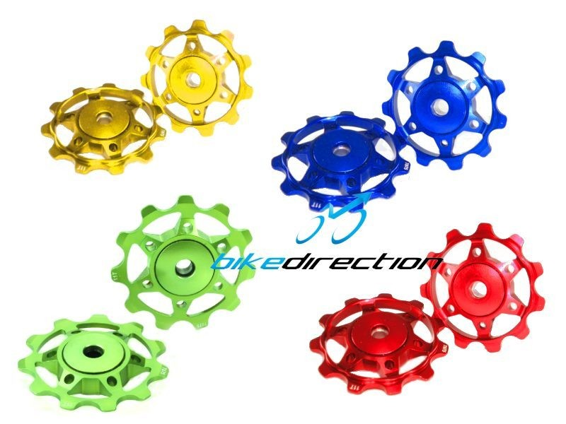 pulleys-coloured-kcnc-xcl-pulegge-ricambio-ergal-rosse.verdi-blu-oro-Bike-Direction