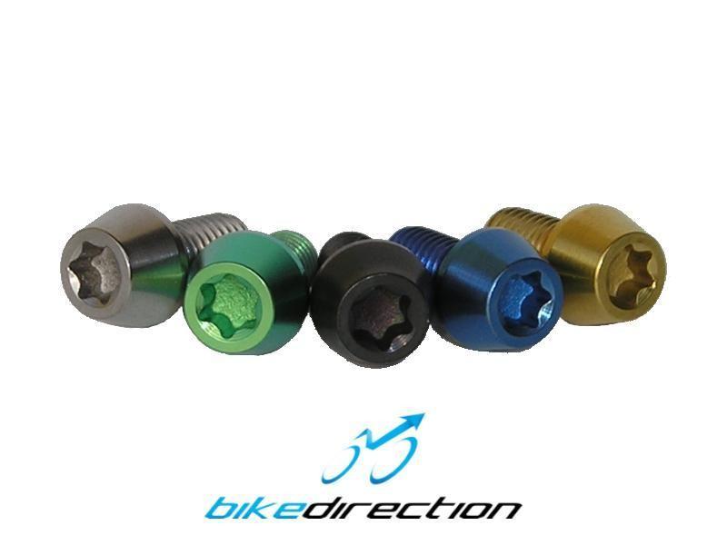 Viti-titanio-colorate-nero-verde-oro-gold-M6x10-t25-componenti-bici-MTB-Corsa-Bike-Direction