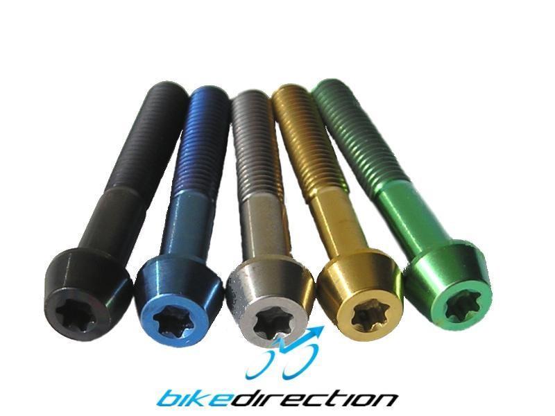 Viti-titanio-colorate-M6x40-t25-nere-oro-verdi-blu-MTB-Corsa-Bike-Direction