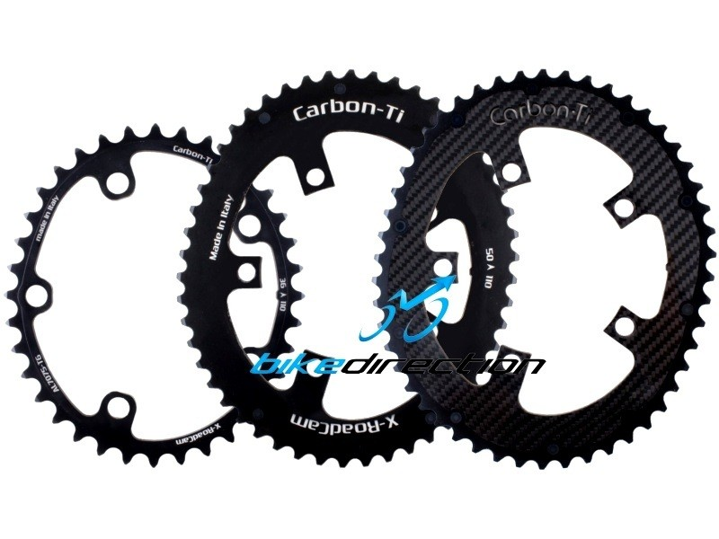 X-ROADCAM-CARBON-TI-CORSA-corone-carbonio-50-36-denti-doppie-camme-OSYMETRIC-Bike-Direction